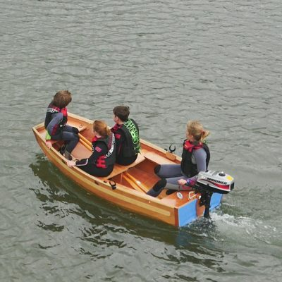 seahopper portable motor boat with blue PVC end
