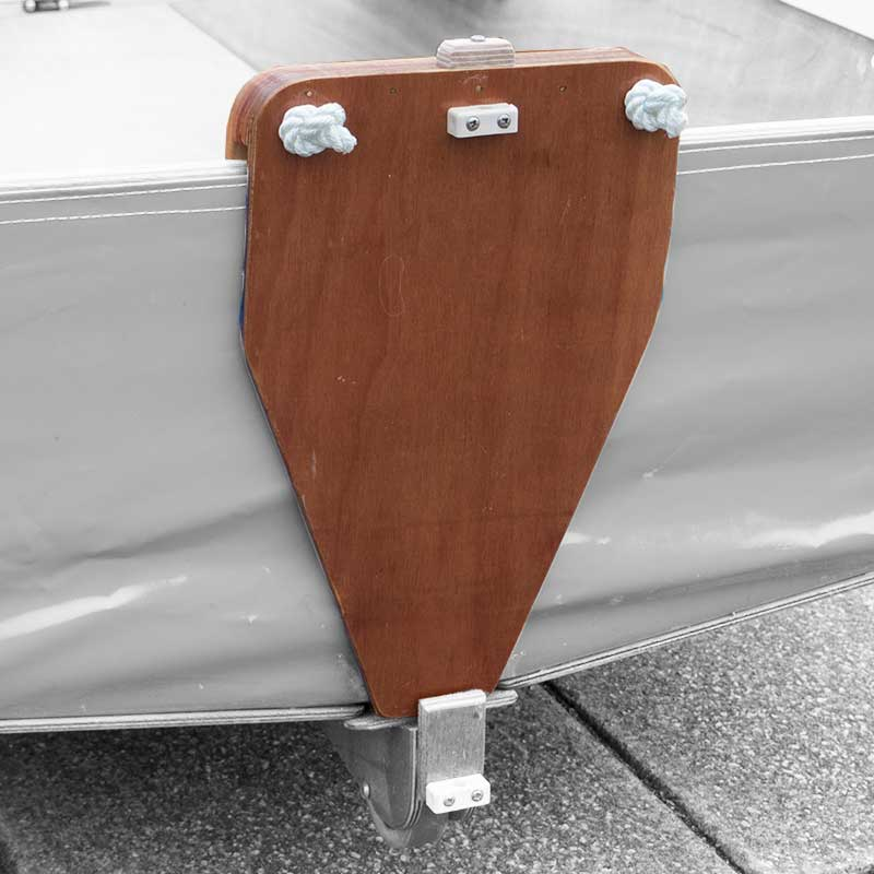 wooden motor mount fixed to back of seahopper folding boat
