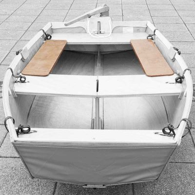 wooden side seats for a seahopper folding boat - aerial view