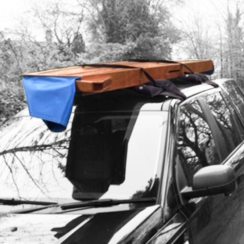 a seahopper with blue PVC end on the car roof rack