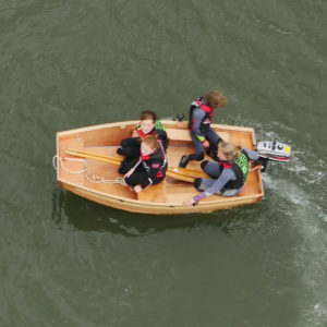 seahopper folding motor boat with oars aerial view on the River Teign
