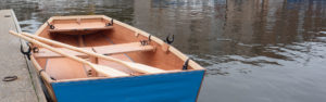 seahopper folding row boat with blue PVC ends - all set to go rowing
