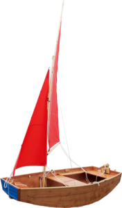 seahopper scamp with blue PVC end and red sails