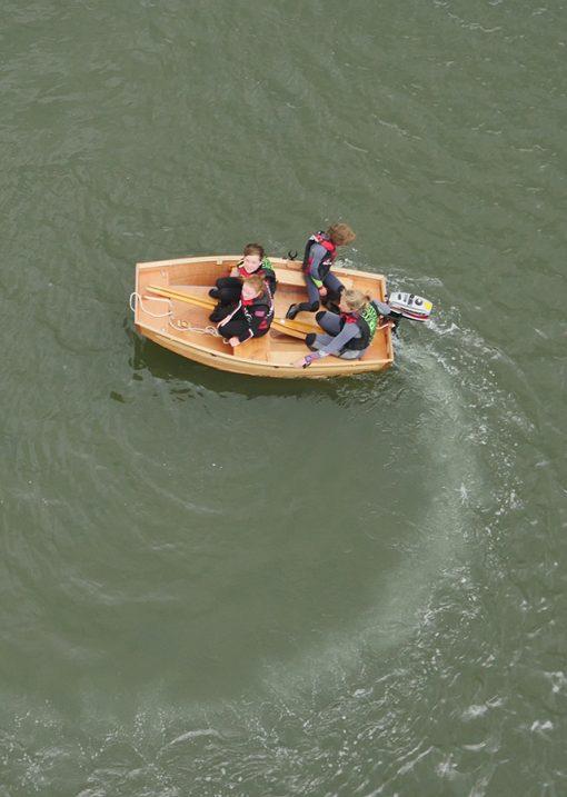 aerial view of seahopper motor boat