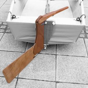 handmade wooden rudder and tiller for a seahopper boat