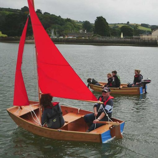 close up of a seahopper sailing and seahopper row boat on the beautiful River Teign