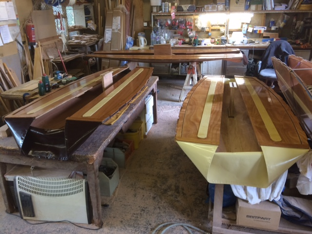 seahopper wooden boats in build in the workshopo